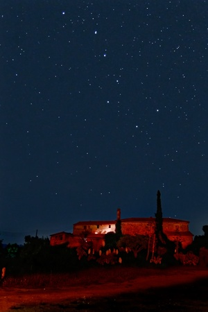 Big Dipper constellation over a countryside scene photo