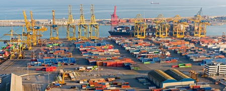 BARCELONA, SPAIN - DECEMBER 14: Panoramic view of the Port of Barcelona. According to AAPA World Port Rankings, Port of Barcelona  is 8th busiest container seaport in Europe. December 14, 2011