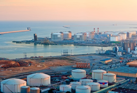 natural gas: LNG Tanks at the Port of Barcelona at Sunset