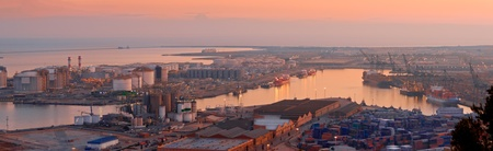 containment: LNG Tanks at the Port of Barcelona Panorama at Dusk