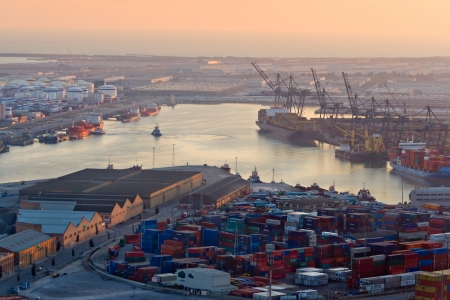 lng: Port of Barcelona at Dusk