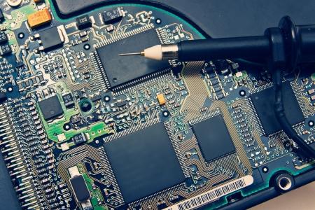 Oscilloscope Probe on Electronic circuit photo