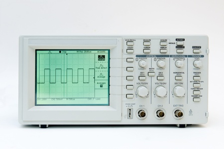 Digital oscilloscope with square wave on the screen Stock Photo