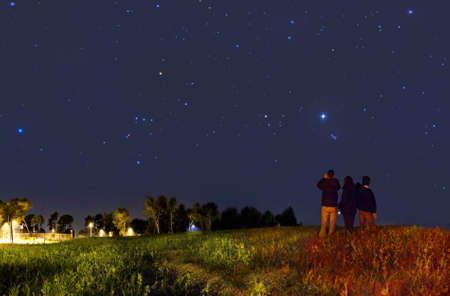 starry sky: Looking at the stars with binoculars Stock Photo