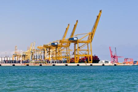 Cargo Cranes in Industrial Port photo