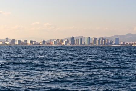 Barcelona coastline seen from the sea photo