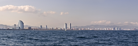 Barcelona coastline seen from the sea photo