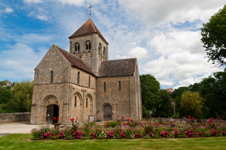 basse normandy: Romanesque Church in Domfront, Normandy, France