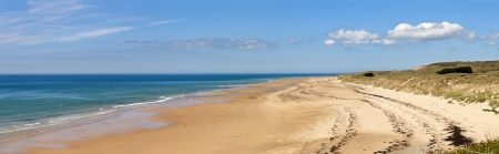 normandy: Panorama of the The beach at carteret,  normandy, france  Stock Photo