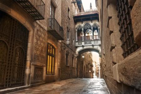 barcelona city: Barcelona Gothic quarter, Carrer del Bisbe