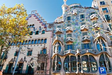 casa: BARCELONA, SPAIN - NOVEMBER 11: Casa Batlló and Casa Ametller Facades. They are major touristic attractions in Barcelona. November 11, 2012 in Barcelona, Spain  Editorial