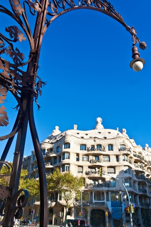 BARCELONA, SPAIN - NOVEMBER 11: Casa Mila or La Pedrera was designed by Antoni Gaudi. This house has attracted more than two million visitors. November 11, 2012 in Barcelona, Spain  Stock Photo - 16309886