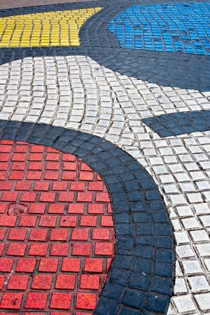 ramblas: Detail of Mosaic in Les Rambles, Barcelona