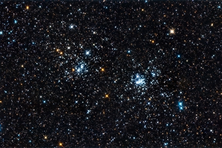 Real starfield with the double star cluster in Perseus captured with an amateur telescope photo