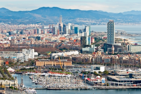 Aerial view of Port Vell in Barcelona
