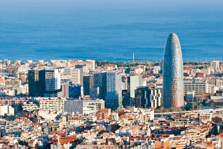 torre: Aerial view of financial district in Barcelona