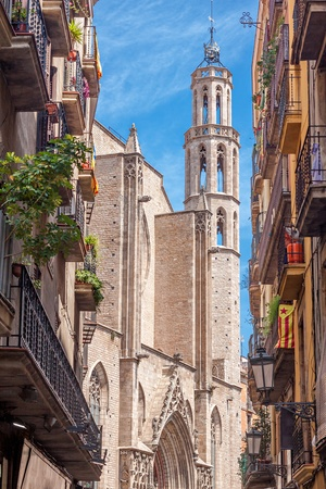 old quarter: Santa Maria del Mar church in Barcelona