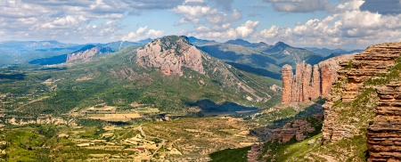 spanish landscapes: Mallos of Riglos panorama in Huesca, Spain