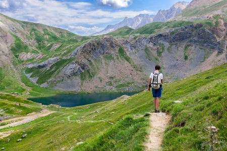 Boy trekking in the Spanish Pyrenees photo