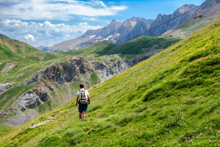 mountaineering: Boy trekking in the Spanish Pyrenees