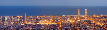 barcelona spain: Barcelona skyline panorama at the Blue Hour