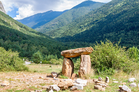 stoneage: Dolmen in the Spanish Pyrenees Stock Photo