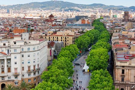 ラス ランブラス、バルセロナの空撮 写真素材
