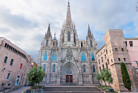 barcelona cathedral: Cathedral of Barcelona, Catalonia Stock Photo