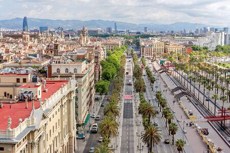 colom: Aerial view of Passeig de Colom and the skyline of Barcelona, Spain