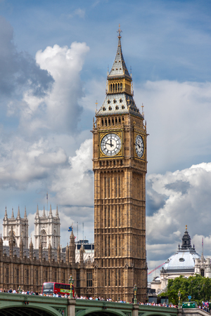 popularly: LONDON, UNITED KINGDOM - AUGUST 4: The Elizabeth Tower on August 4, 2014 in London. The Clock Tower, named in tribute to Queen Elizabeth II in her Diamond Jubilee, more popularly known as Big Ben.