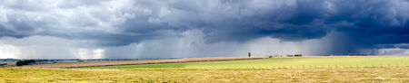 torrential: Heavy Rainstorm over Meadows Panorama