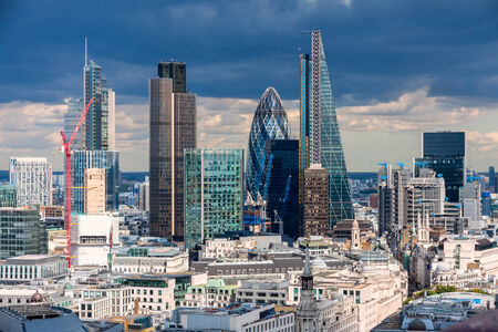 lloyds of london: The City of London in the afternoon