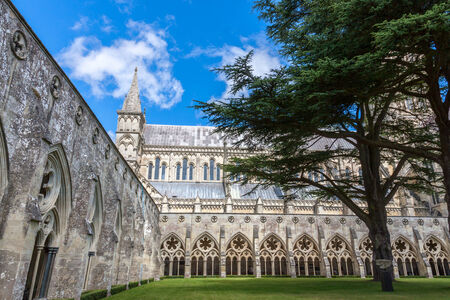 Salisbury Cathedral from the cloister, Wiltshire, England, UK photo