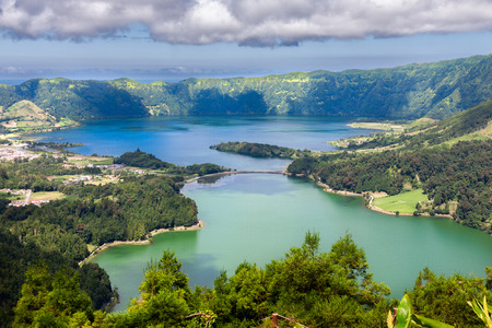 crater lake: Lake of Sete Cidades from Vista do Rei viewpoint in Sao Miguel, Azores