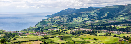 agriculture azores: Panoramic Aerial View of Povoacao in Sao Miguel, Azores Islands