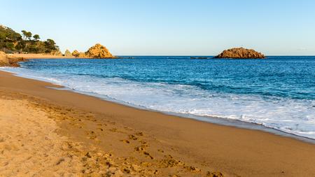 mar: Tossa de Mar Beach in the afternoon, Costa Brava, Catalonia Stock Photo