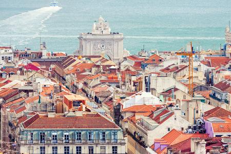 baixa: Aerial view of Baixa district in Lisbon, Portugal Stock Photo