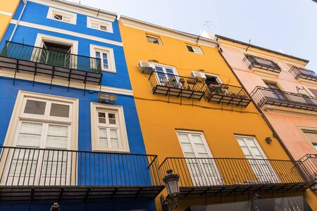 town houses: Old Town colorful houses  in Valencia, Spain.