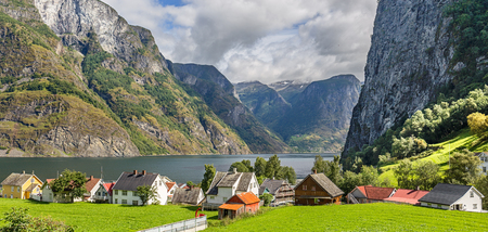 Panoramic view of the Village of Undredal in Norway Stock Photo