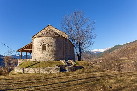 dated: Santa Magdalena romanesque chapel dated on XII century in Pardines, Catalonia Stock Photo