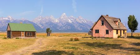 Mormonische Reihen-Kabinen im großartigen Teton Nationalpark, WY, USA Standard-Bild - 90069627
