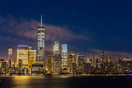 Lower Manhattan Skyline at night, NYC, USA Stock Photo