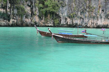 tourquoise: Boat in Maya Bay, Thailand