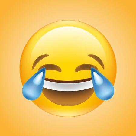 Face with tears joy emoji Vector
