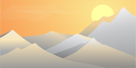 Dawn in the Mountains Vector Illustration