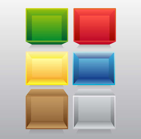 3d isolated Empty colorful bookshelf. Vector illustration. Vector