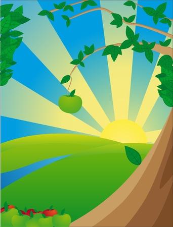 Solar landscape with apple Ilustração