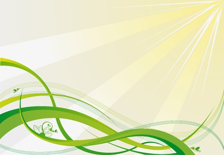 curve line: vector green background