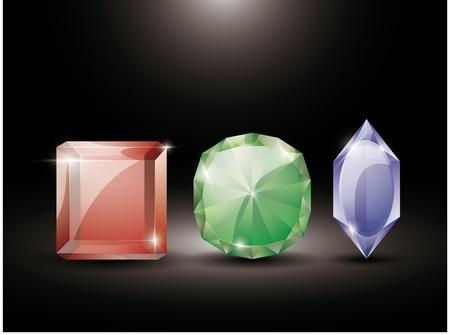 collection of precious stones Vector