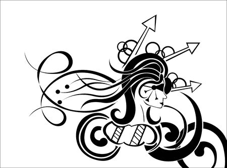 figure of a girl with long hair Vector